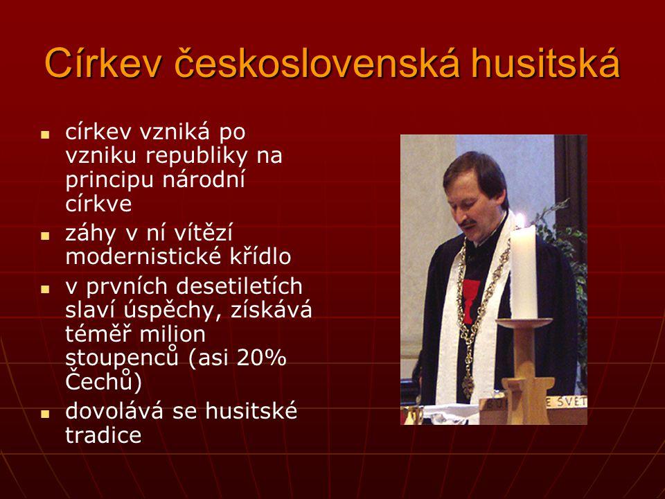 Církev československá husitská církev vzniká po vzniku republiky na principu národní církve záhy v ní vítězí modernistické křídlo v prvních desetiletí