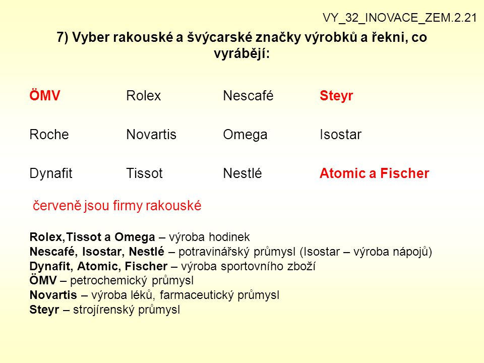 7) Vyber rakouské a švýcarské značky výrobků a řekni, co vyrábějí: ÖMVRolexNescaféSteyr RocheNovartisOmegaIsostar DynafitTissotNestléAtomic a Fischer