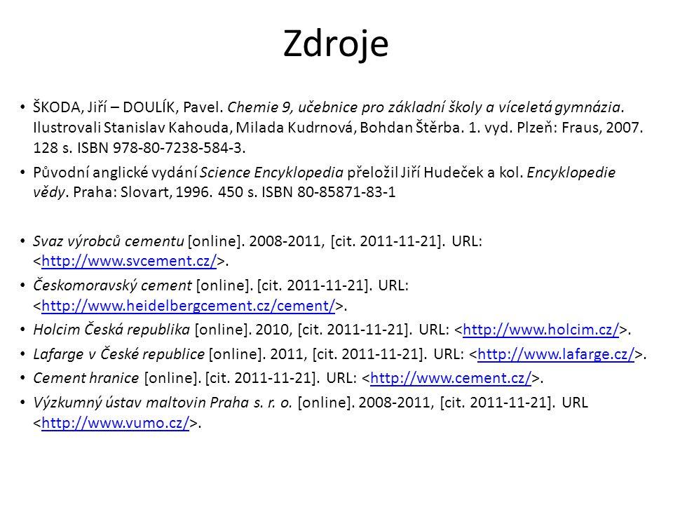 Zdroje Projekt EcoCrete – Beton [online].[cit. 2011-12-04].