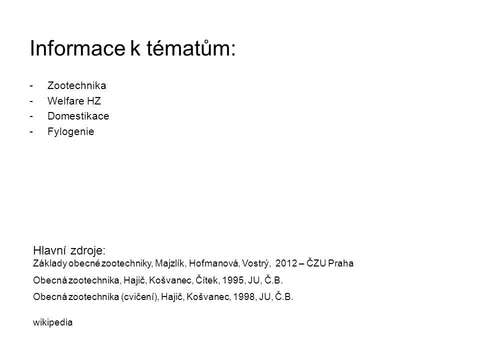 Informace k tématům: -Zootechnika -Welfare HZ -Domestikace -Fylogenie Hlavní zdroje: Základy obecné zootechniky, Majzlík, Hofmanová, Vostrý, 2012 – ČZ