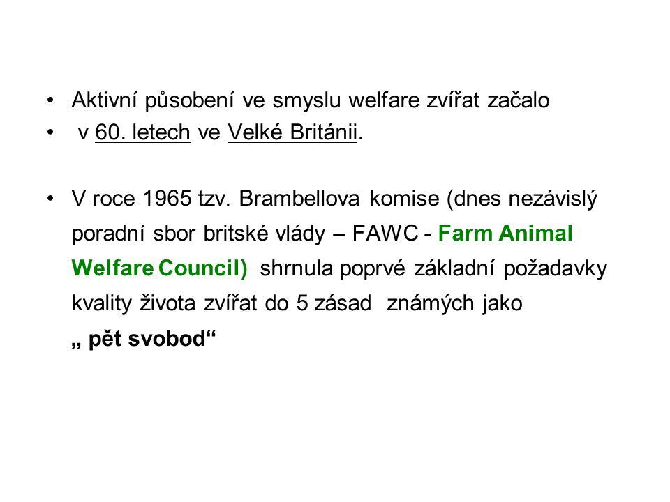 Aktivní působení ve smyslu welfare zvířat začalo v 60. letech ve Velké Británii. V roce 1965 tzv. Brambellova komise (dnes nezávislý poradní sbor brit