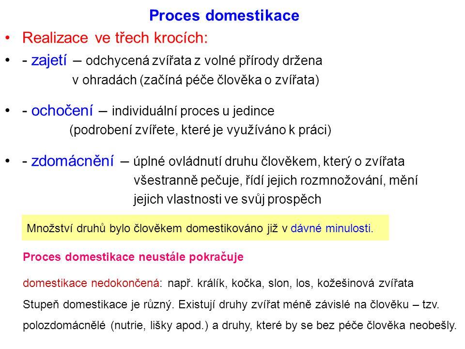 Proces domestikace Realizace ve třech krocích: - zajetí – odchycená zvířata z volné přírody držena v ohradách (začíná péče člověka o zvířata) - ochoče