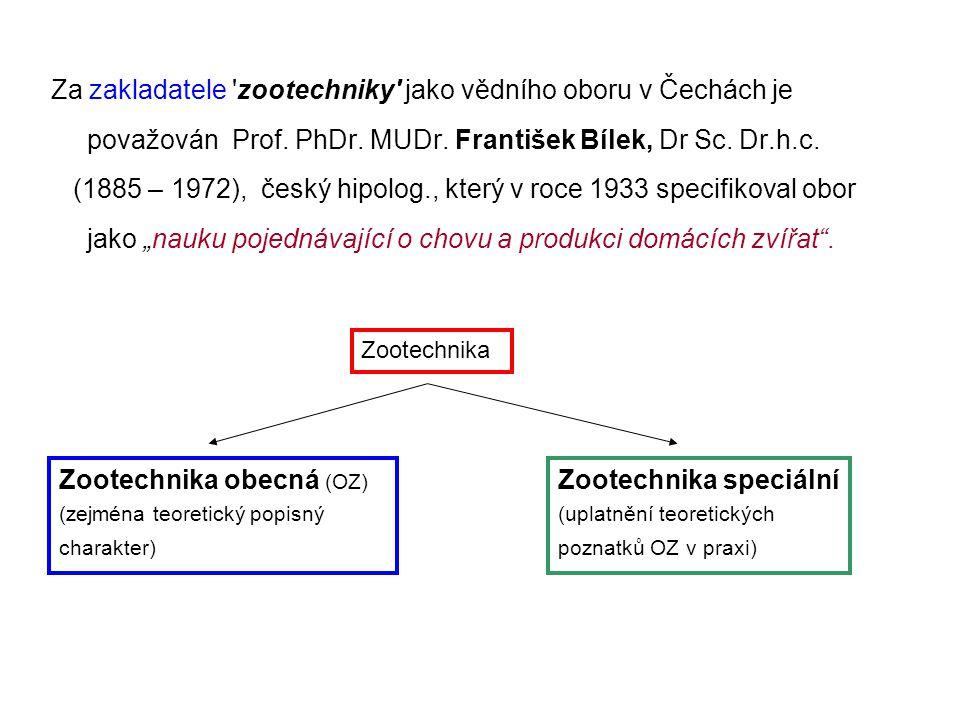 Za zakladatele 'zootechniky' jako vědního oboru v Čechách je považován Prof. PhDr. MUDr. František Bílek, Dr Sc. Dr.h.c. (1885 – 1972), český hipolog.