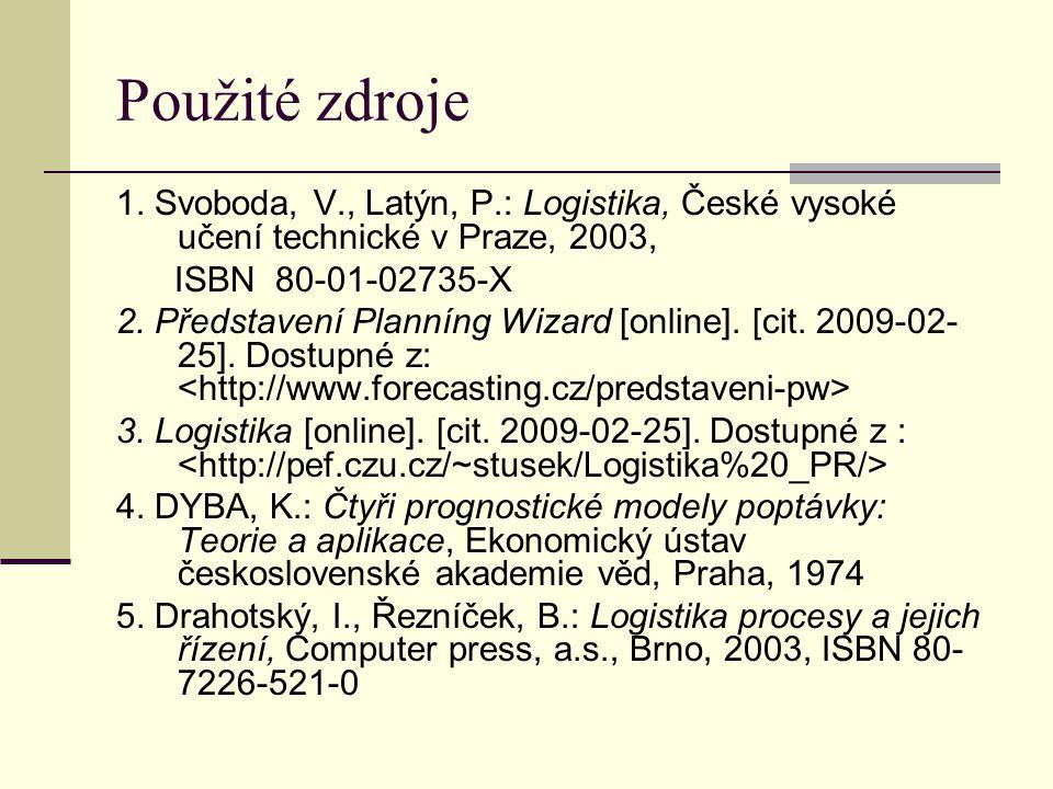 Použité zdroje 1. Svoboda, V., Latýn, P.: Logistika, České vysoké učení technické v Praze, 2003, ISBN 80-01-02735-X 2. Představení Planníng Wizard [on