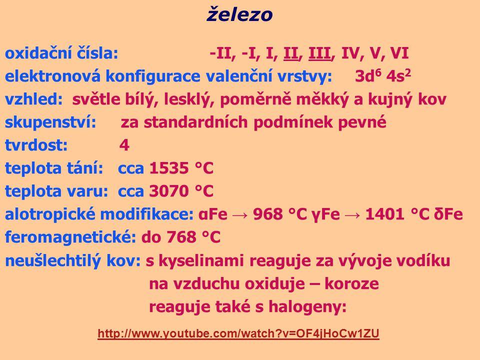 oxidační čísla: -II, -I, I, II, III, IV, V, VI elektronová konfigurace valenční vrstvy: 3d 6 4s 2 vzhled: světle bílý, lesklý, poměrně měkký a kujný k
