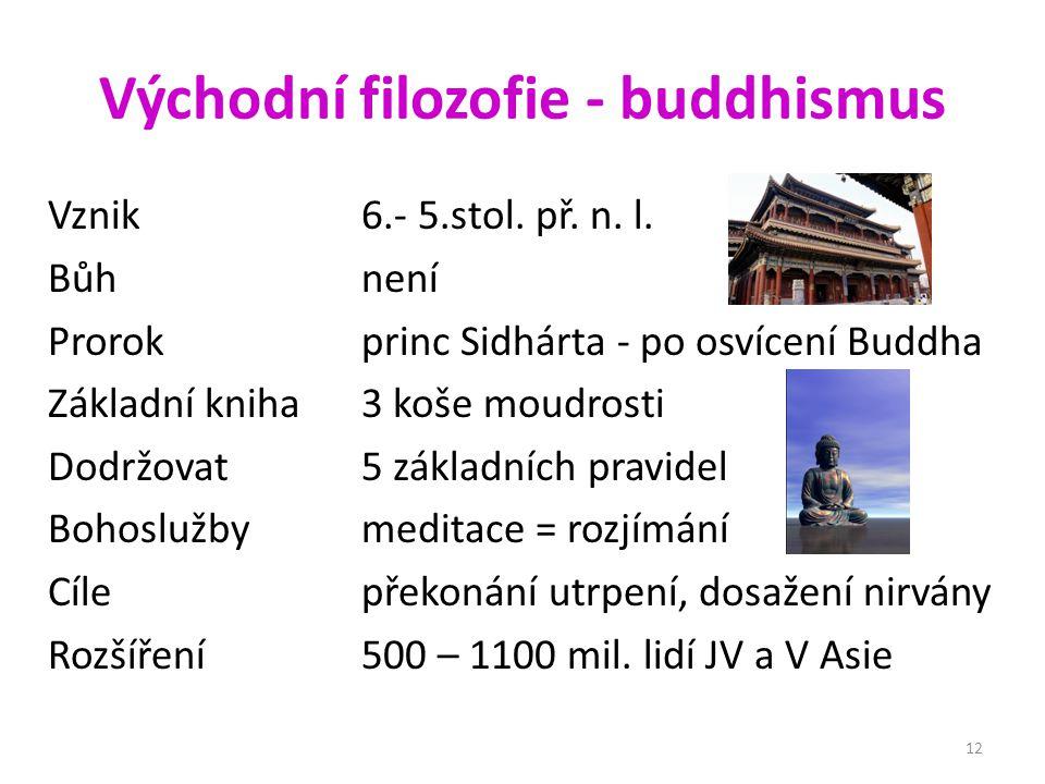 Východní filozofie - buddhismus Vznik 6.- 5.stol.př.