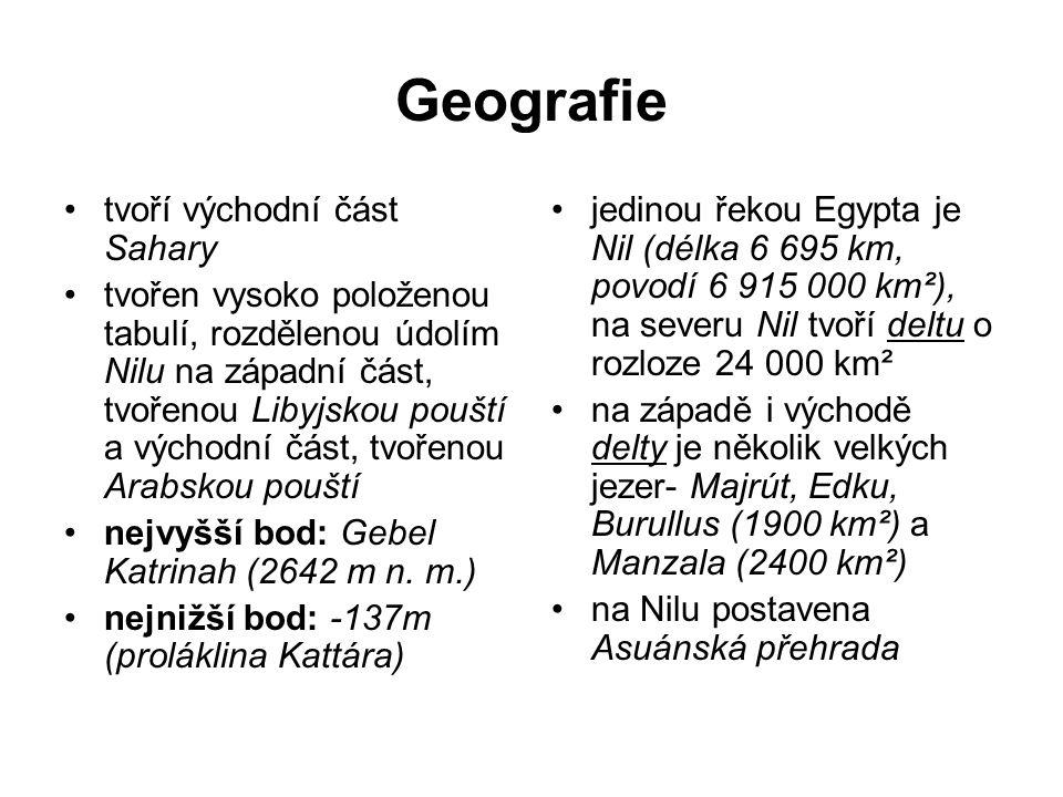 Geografie tvoří východní část Sahary tvořen vysoko položenou tabulí, rozdělenou údolím Nilu na západní část, tvořenou Libyjskou pouští a východní část, tvořenou Arabskou pouští nejvyšší bod: Gebel Katrinah (2642 m n.