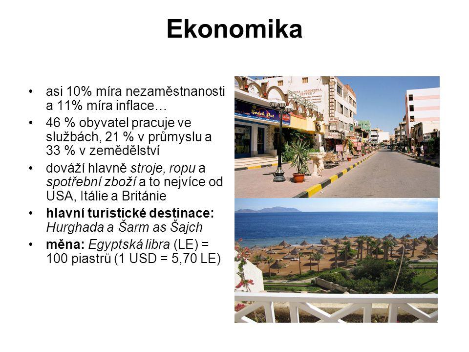 Ekonomika asi 10% míra nezaměstnanosti a 11% míra inflace… 46 % obyvatel pracuje ve službách, 21 % v průmyslu a 33 % v zemědělství dováží hlavně stroje, ropu a spotřební zboží a to nejvíce od USA, Itálie a Británie hlavní turistické destinace: Hurghada a Šarm as Šajch měna: Egyptská libra (LE) = 100 piastrů (1 USD = 5,70 LE)