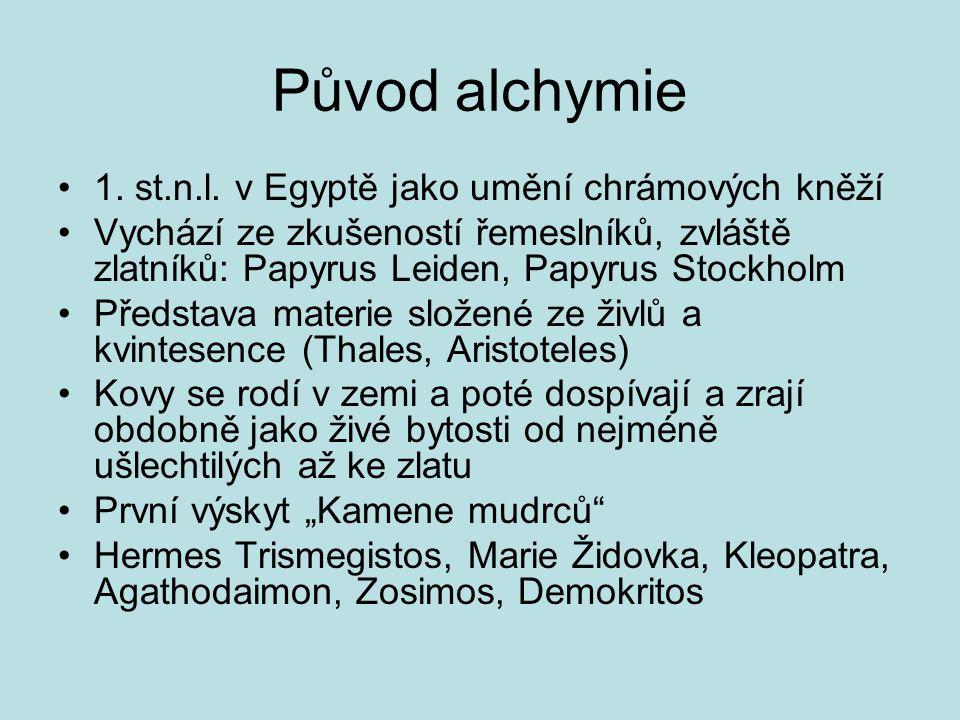 Původ alchymie 1. st.n.l. v Egyptě jako umění chrámových kněží Vychází ze zkušeností řemeslníků, zvláště zlatníků: Papyrus Leiden, Papyrus Stockholm P