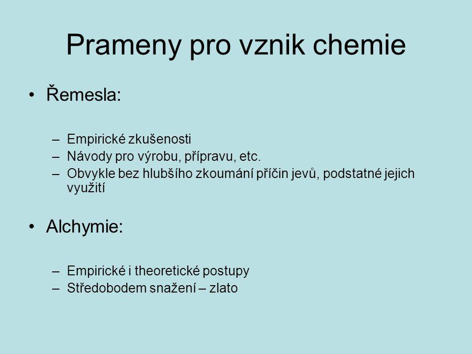 Prameny pro vznik chemie Řemesla: –Empirické zkušenosti –Návody pro výrobu, přípravu, etc. –Obvykle bez hlubšího zkoumání příčin jevů, podstatné jejic