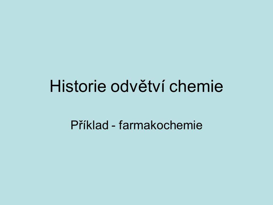 Historie odvětví chemie Příklad - farmakochemie