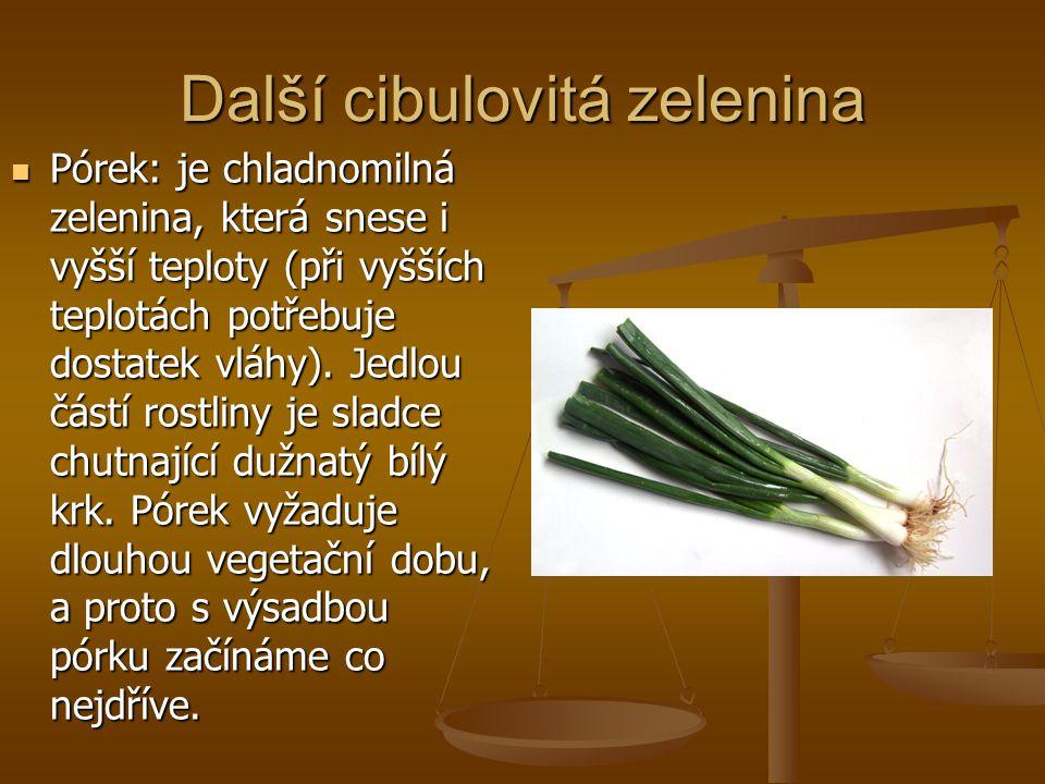 Další cibulovitá zelenina Pórek: je chladnomilná zelenina, která snese i vyšší teploty (při vyšších teplotách potřebuje dostatek vláhy).