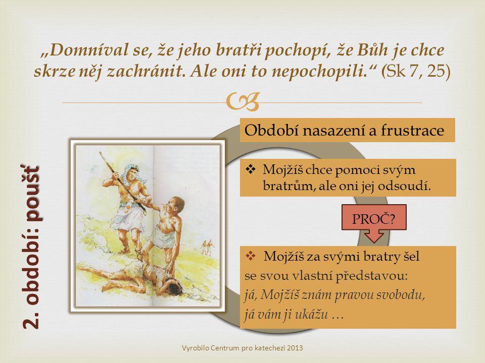 """  Mojžíš za svými bratry šel se svou vlastní představou: já, Mojžíš znám pravou svobodu, já vám ji ukážu … Vyrobilo Centrum pro katechezi 2013 """"Domníval se, že jeho bratři pochopí, že Bůh je chce skrze něj zachránit."""