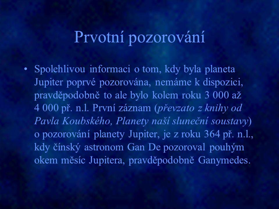 Prvotní pozorování Spolehlivou informaci o tom, kdy byla planeta Jupiter poprvé pozorována, nemáme k dispozici, pravděpodobně to ale bylo kolem roku 3