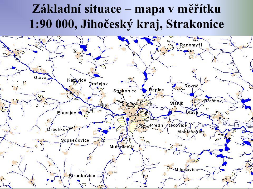 Základní situace – mapa v měřítku 1:90 000, Jihočeský kraj, Strakonice