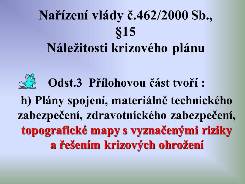 Nařízení vlády č.462/2000 Sb., §15 Náležitosti krizového plánu Odst.3 Přílohovou část tvoří : topografické mapy s vyznačenými riziky a řešením krizový