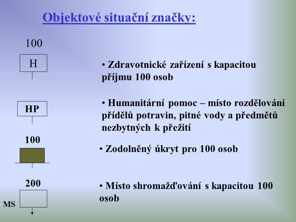 Objektové situační značky: H 100 Zdravotnické zařízení s kapacitou příjmu 100 osob HP Humanitární pomoc – místo rozdělování přídělů potravin, pitné vo