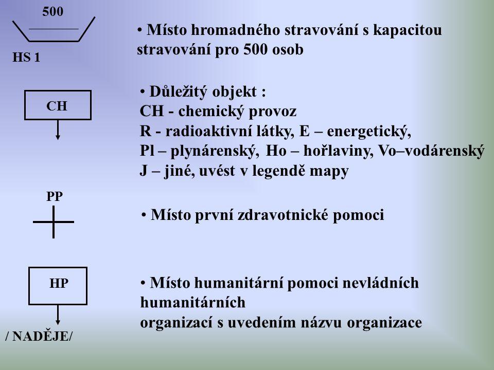 HS 1 500 Místo hromadného stravování s kapacitou stravování pro 500 osob CH Důležitý objekt : CH - chemický provoz R - radioaktivní látky, E – energet