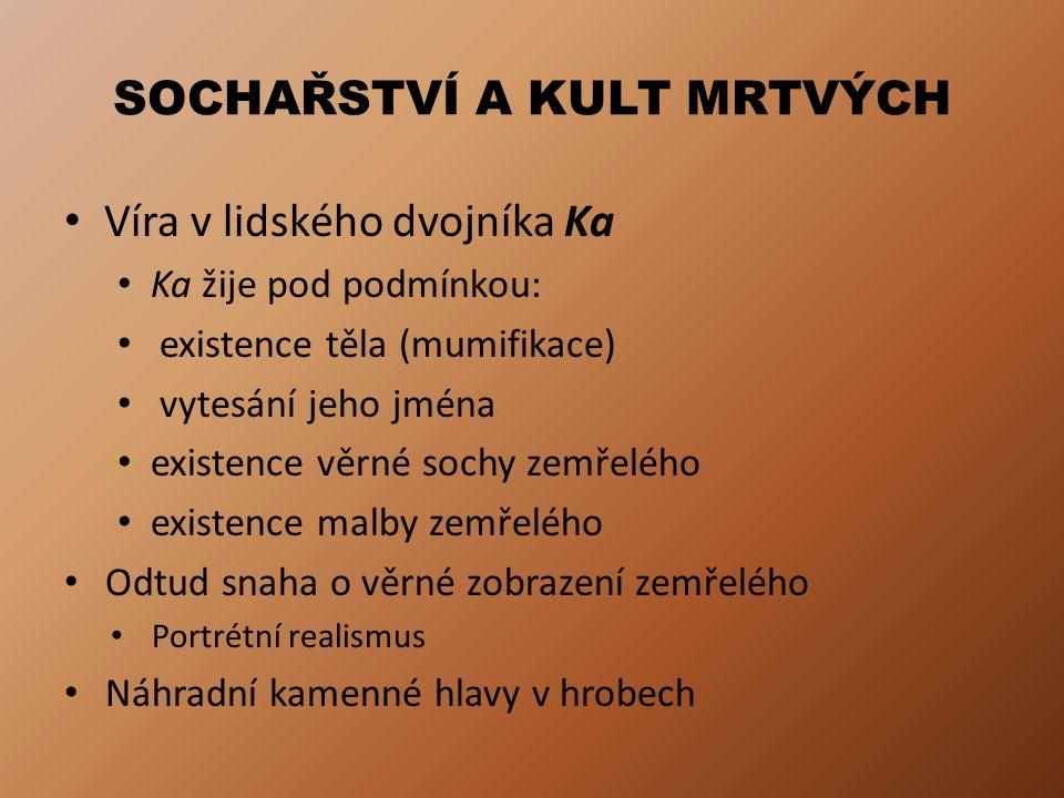 SOCHAŘSTVÍ A KULT MRTVÝCH Víra v lidského dvojníka Ka Ka žije pod podmínkou: existence těla (mumifikace) vytesání jeho jména existence věrné sochy zem