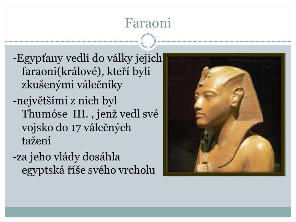 Faraoni -Egypťany vedli do války jejich faraoni(králové), kteří byli zkušenými válečníky -největšími z nich byl Thumóse III., jenž vedl své vojsko do
