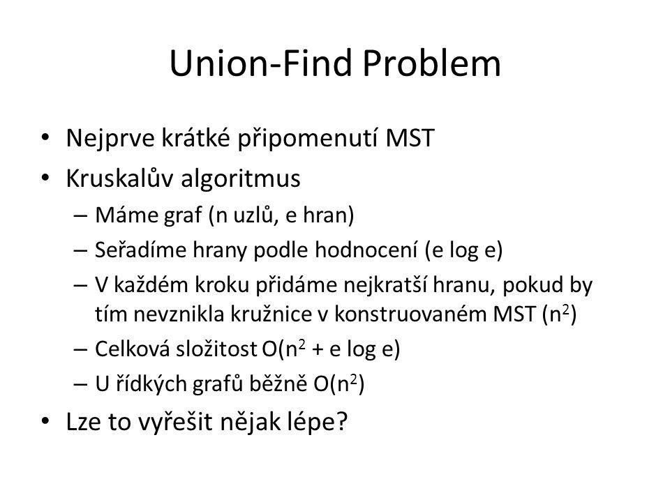 Union-Find Problem Nejprve krátké připomenutí MST Kruskalův algoritmus – Máme graf (n uzlů, e hran) – Seřadíme hrany podle hodnocení (e log e) – V každém kroku přidáme nejkratší hranu, pokud by tím nevznikla kružnice v konstruovaném MST (n 2 ) – Celková složitost O(n 2 + e log e) – U řídkých grafů běžně O(n 2 ) Lze to vyřešit nějak lépe