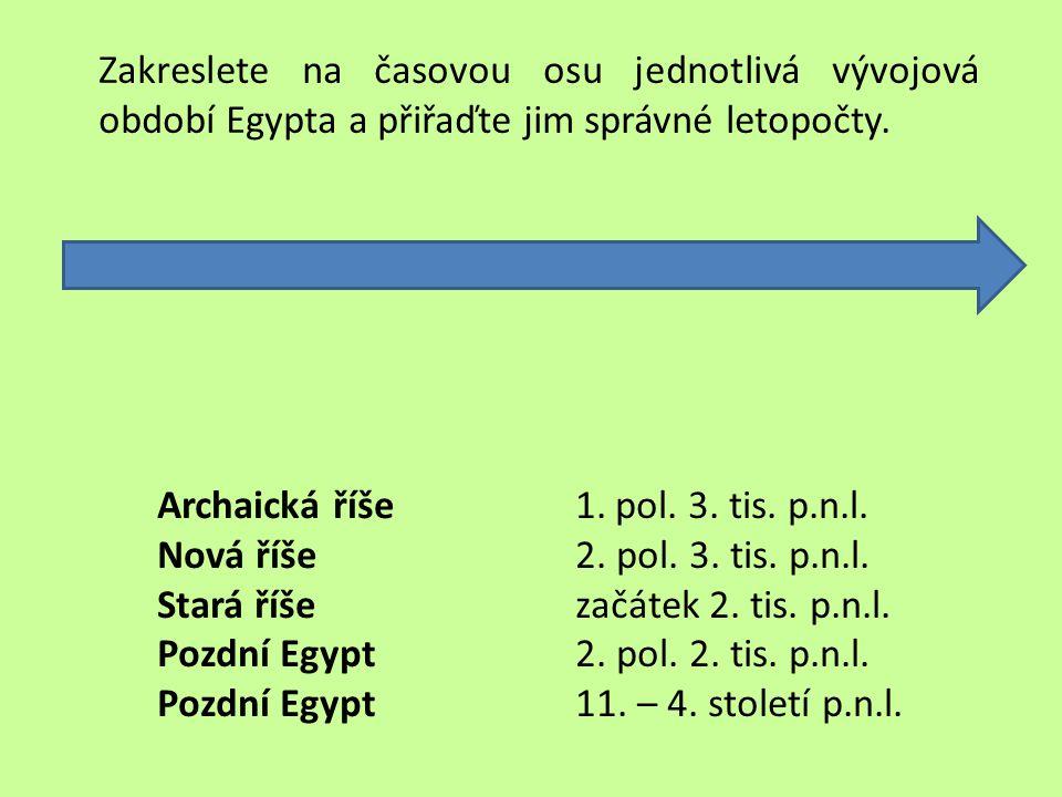 1.pol. 3. tis. p.n.l. 2. pol. 3. tis. p.n.l. začátek 2. tis. p.n.l. 2. pol. 2. tis. p.n.l. 11. – 4. století p.n.l. Zakreslete na časovou osu jednotliv