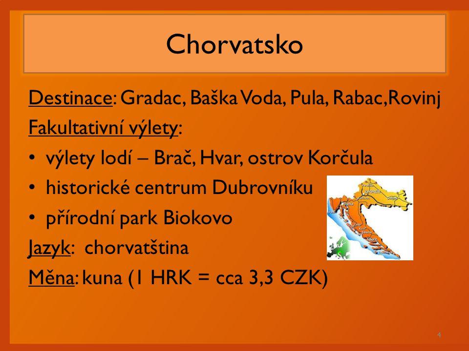 Chorvatsko Destinace: Gradac, Baška Voda, Pula, Rabac,Rovinj Fakultativní výlety: výlety lodí – Brač, Hvar, ostrov Korčula historické centrum Dubrovní