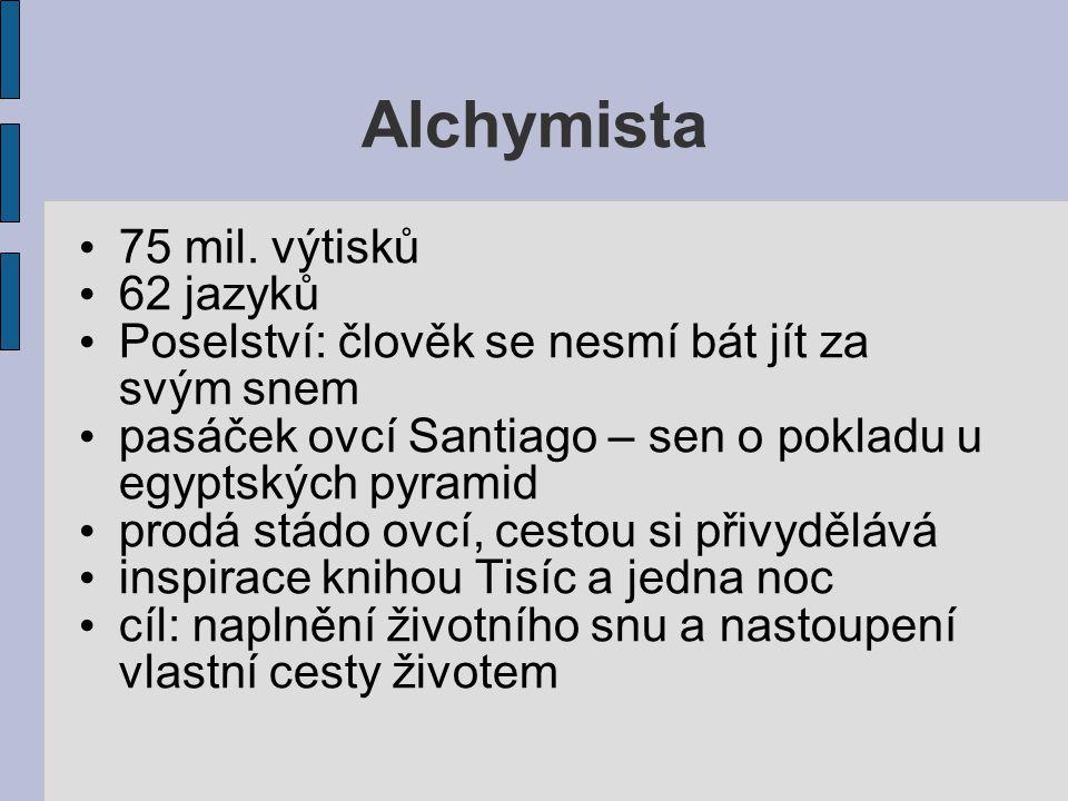 Alchymista 75 mil. výtisků 62 jazyků Poselství: člověk se nesmí bát jít za svým snem pasáček ovcí Santiago – sen o pokladu u egyptských pyramid prodá