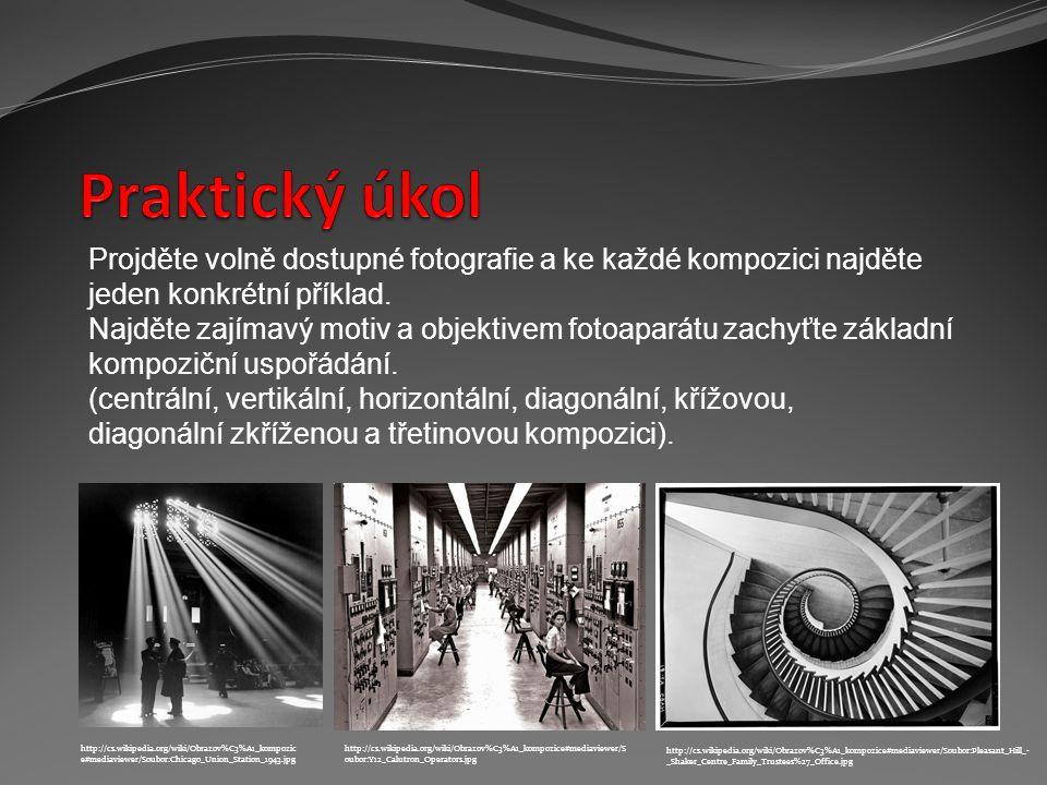 Projděte volně dostupné fotografie a ke každé kompozici najděte jeden konkrétní příklad. Najděte zajímavý motiv a objektivem fotoaparátu zachyťte zákl