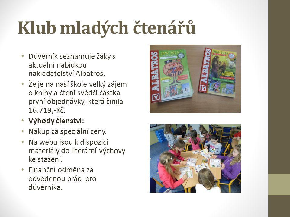 Klub mladých čtenářů Důvěrník seznamuje žáky s aktuální nabídkou nakladatelství Albatros. Že je na naší škole velký zájem o knihy a čtení svědčí částk