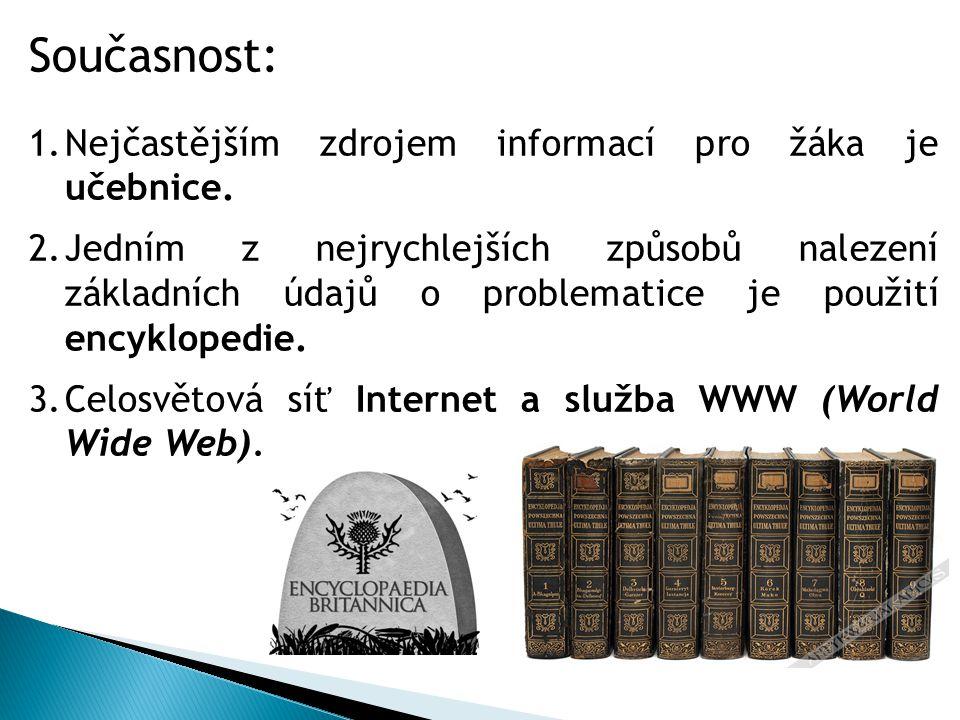 Současnost: 1.Nejčastějším zdrojem informací pro žáka je učebnice.