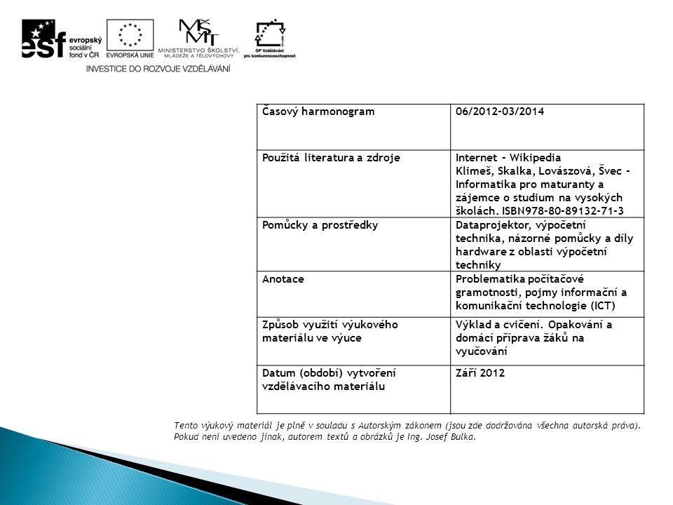 Časový harmonogram06/2012-03/2014 Použitá literatura a zdrojeInternet – Wikipedia Klimeš, Skalka, Lovászová, Švec - Informatika pro maturanty a zájemce o studium na vysokých školách.