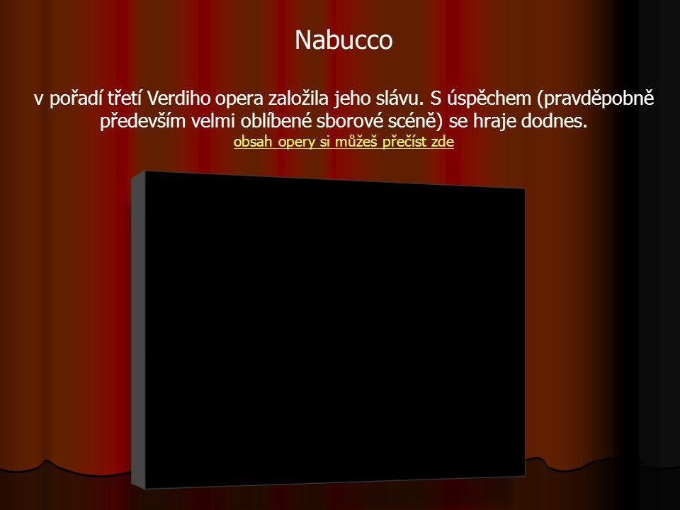 Nabucco v pořadí třetí Verdiho opera založila jeho slávu. S úspěchem (pravděpobně především velmi oblíbené sborové scéně) se hraje dodnes. obsah opery
