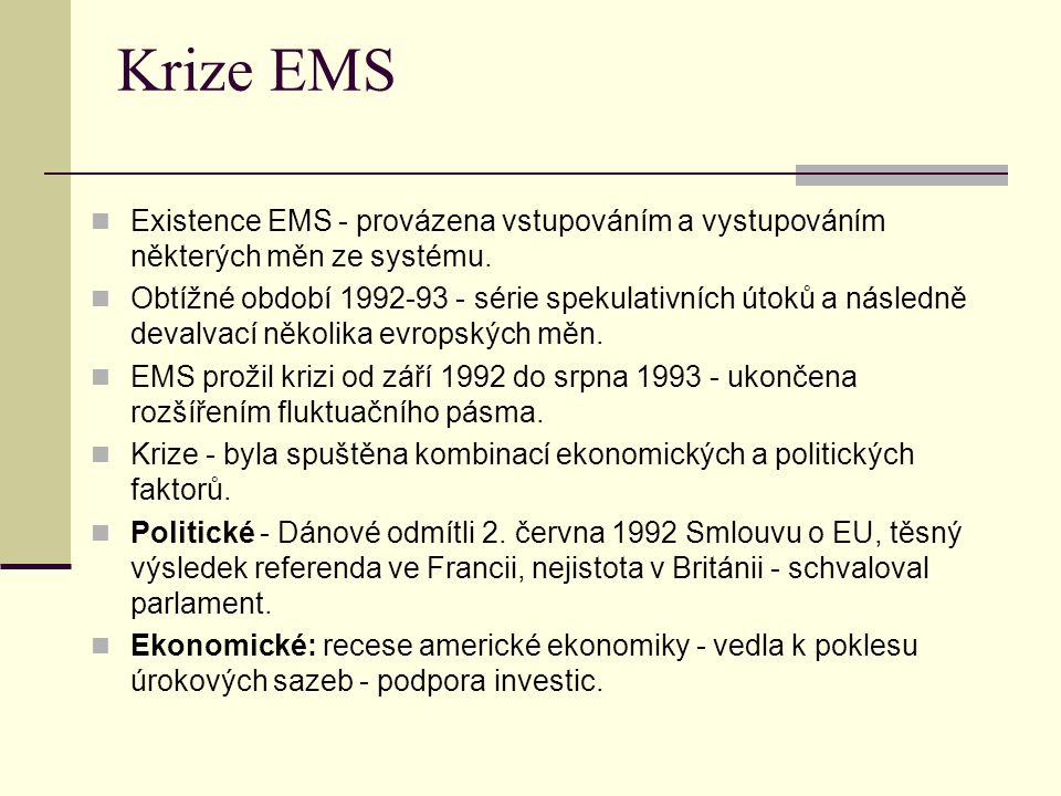 Krize EMS Existence EMS - provázena vstupováním a vystupováním některých měn ze systému.