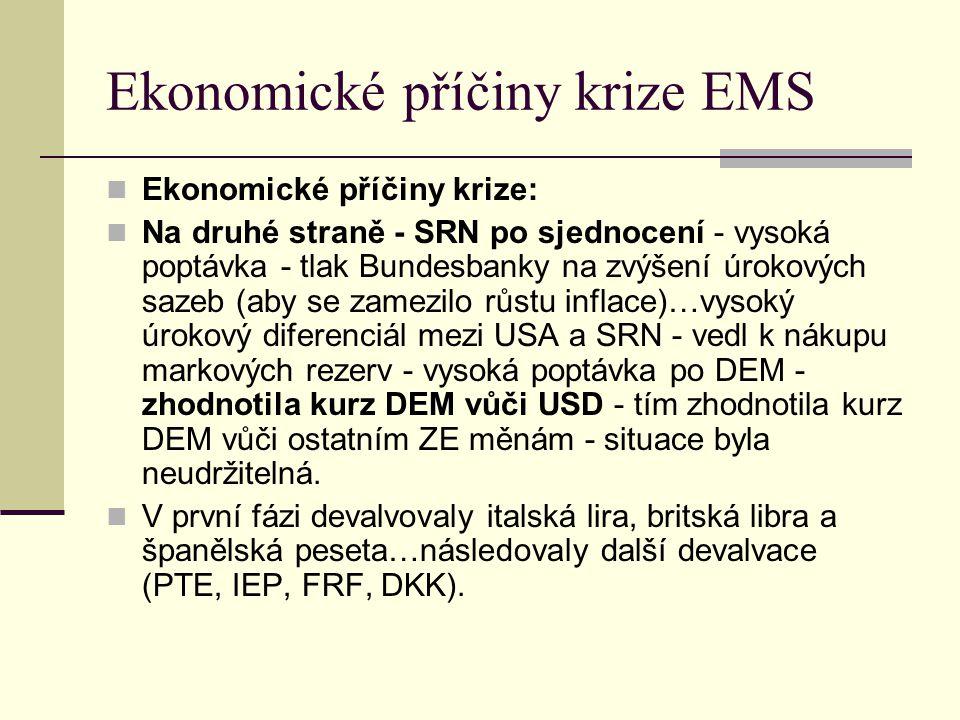 Ekonomické příčiny krize EMS Ekonomické příčiny krize: Na druhé straně - SRN po sjednocení - vysoká poptávka - tlak Bundesbanky na zvýšení úrokových sazeb (aby se zamezilo růstu inflace)…vysoký úrokový diferenciál mezi USA a SRN - vedl k nákupu markových rezerv - vysoká poptávka po DEM - zhodnotila kurz DEM vůči USD - tím zhodnotila kurz DEM vůči ostatním ZE měnám - situace byla neudržitelná.