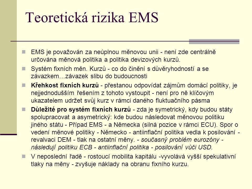 Teoretická rizika EMS EMS je považován za neúplnou měnovou unii - není zde centrálně určována měnová politika a politika devizových kurzů.