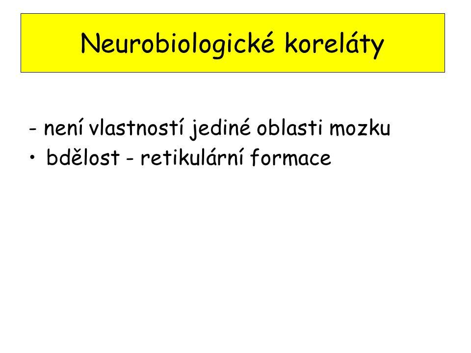 - není vlastností jediné oblasti mozku bdělost - retikulární formace Neurobiologické koreláty