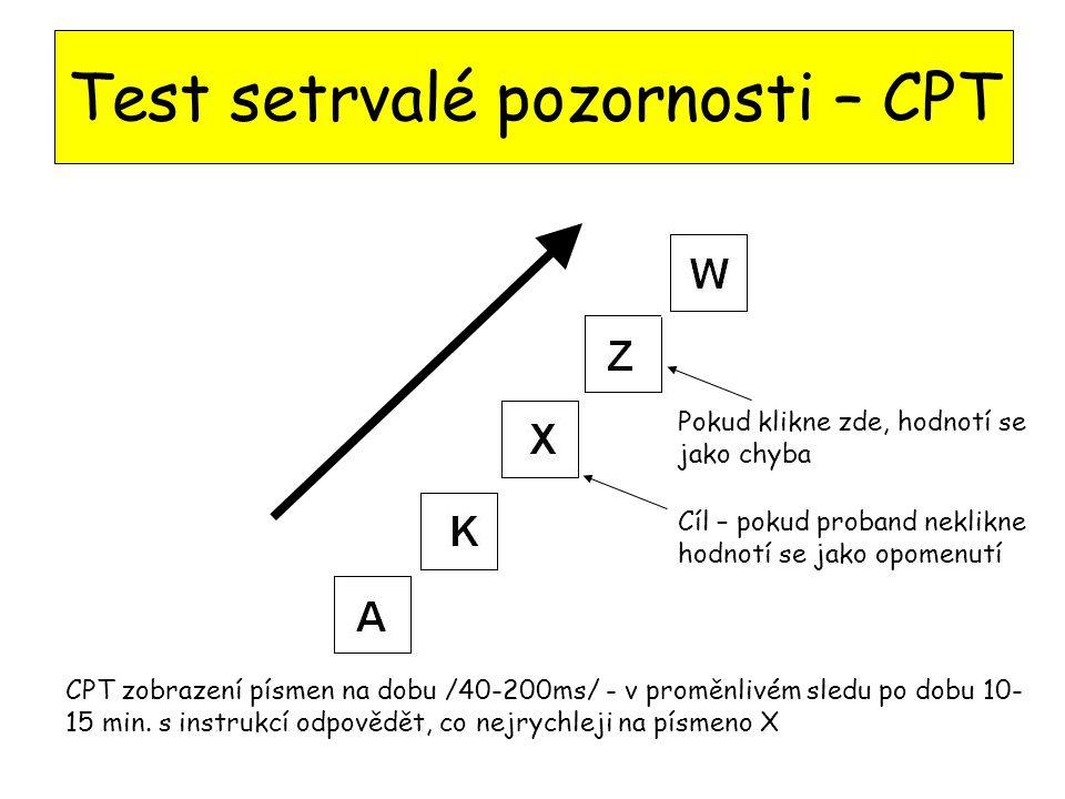 Test setrvalé pozornosti – CPT CPT zobrazení písmen na dobu /40-200ms/ - v proměnlivém sledu po dobu 10- 15 min.