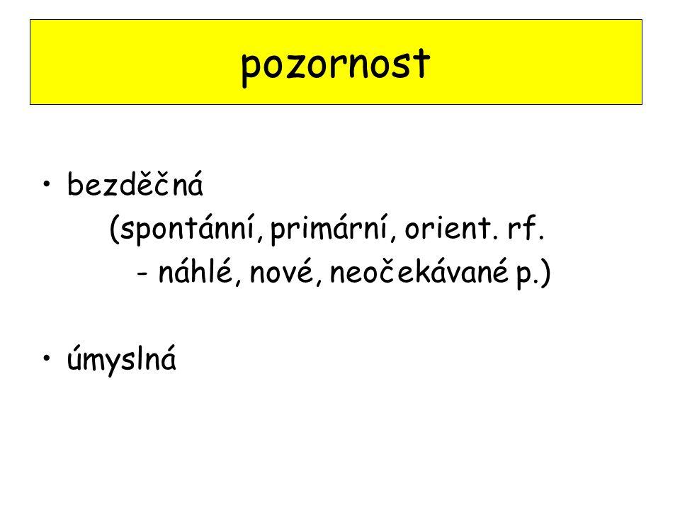 bezděčná (spontánní, primární, orient. rf. - náhlé, nové, neočekávané p.) úmyslná pozornost