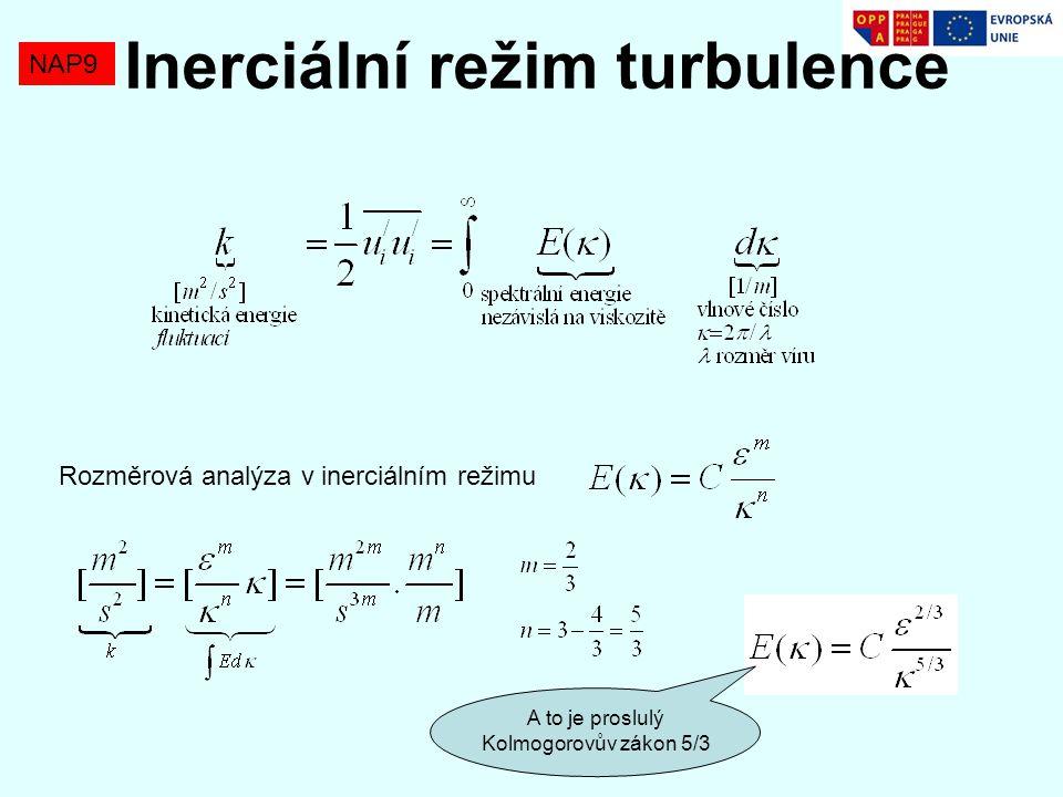 Rozměrová analýza v inerciálním režimu A to je proslulý Kolmogorovův zákon 5/3 NAP9 Inerciální režim turbulence