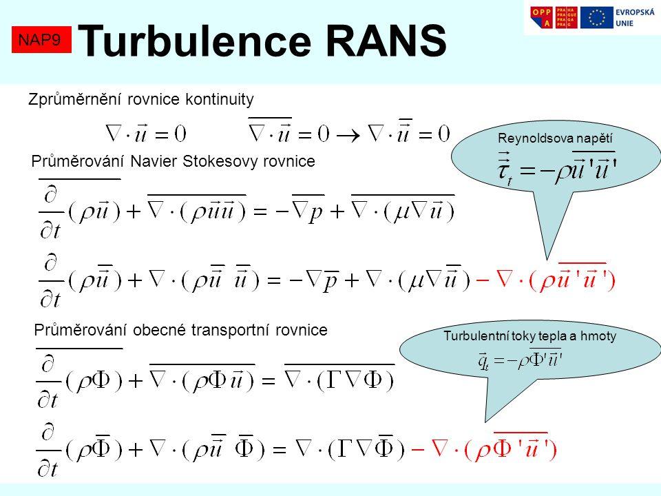 NAP9 Turbulence RANS Zprůměrnění rovnice kontinuity Průměrování Navier Stokesovy rovnice Reynoldsova napětí Průměrování obecné transportní rovnice Turbulentní toky tepla a hmoty