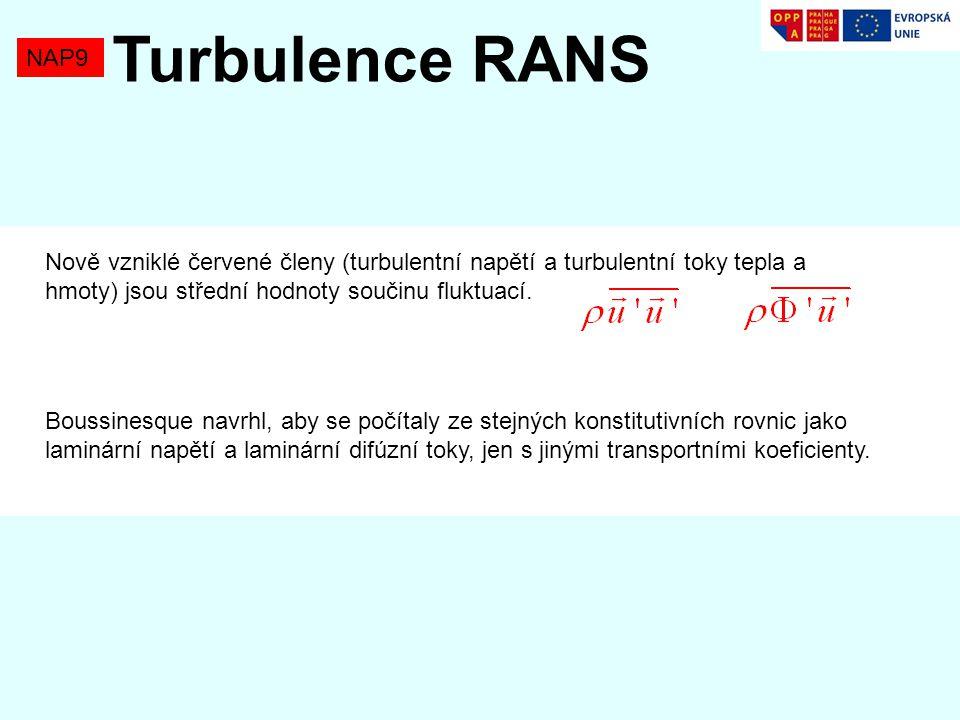 Nově vzniklé červené členy (turbulentní napětí a turbulentní toky tepla a hmoty) jsou střední hodnoty součinu fluktuací.