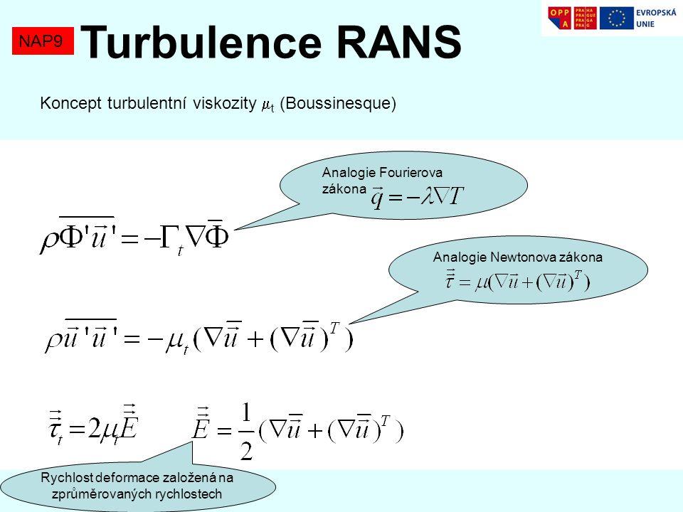 NAP9 Turbulence RANS Rychlost deformace založená na zprůměrovaných rychlostech Analogie Fourierova zákona Analogie Newtonova zákona Koncept turbulentní viskozity  t (Boussinesque)
