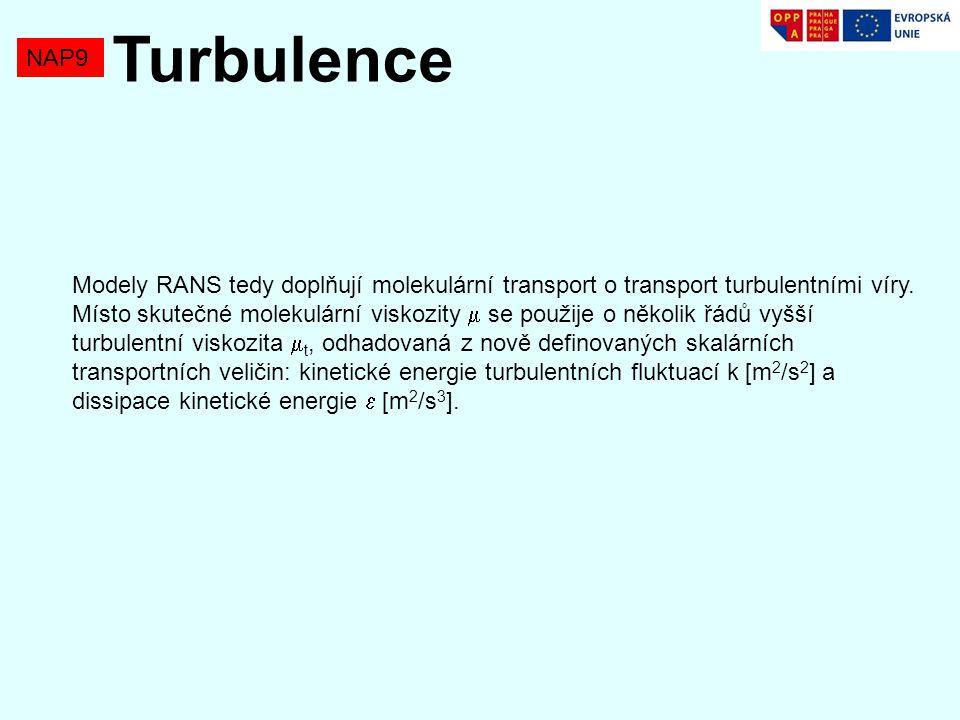 NAP9 Turbulence Modely RANS tedy doplňují molekulární transport o transport turbulentními víry.