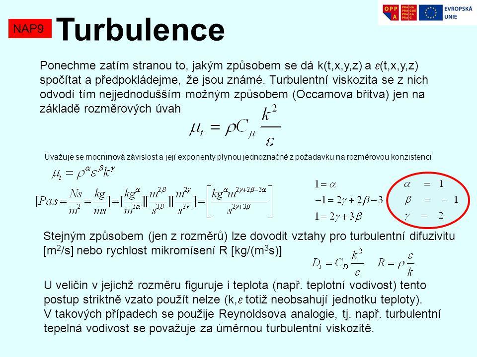 NAP9 Turbulence Ponechme zatím stranou to, jakým způsobem se dá k(t,x,y,z) a  (t,x,y,z) spočítat a předpokládejme, že jsou známé.