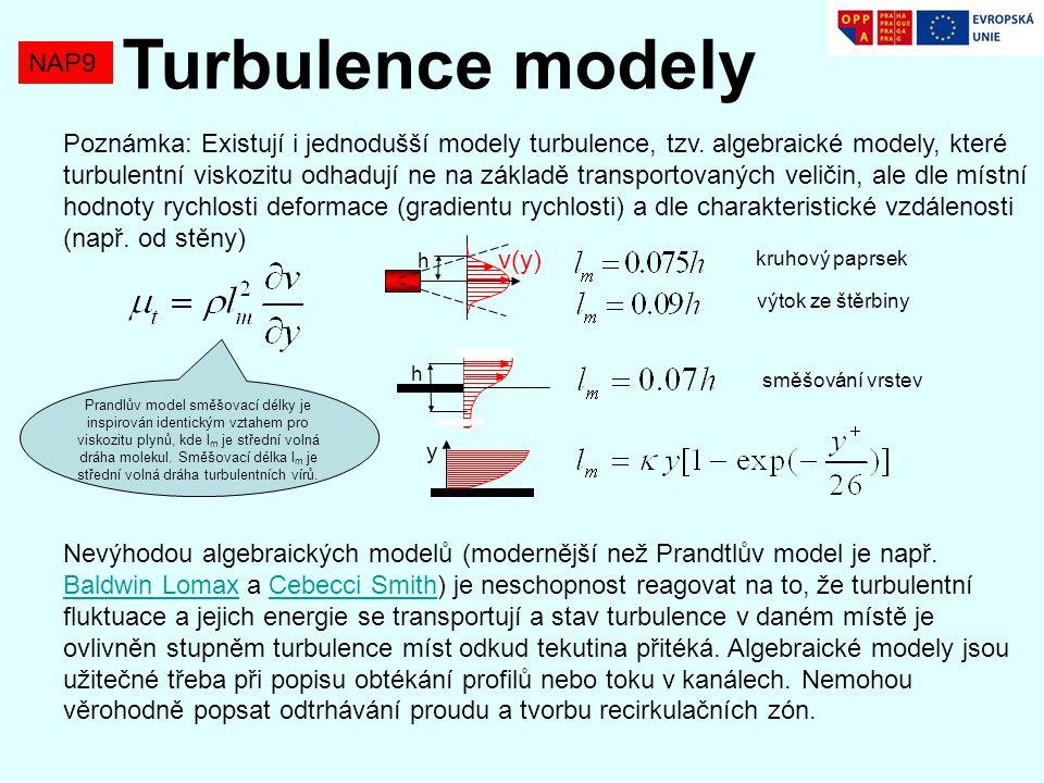 NAP9 Turbulence modely Poznámka: Existují i jednodušší modely turbulence, tzv.