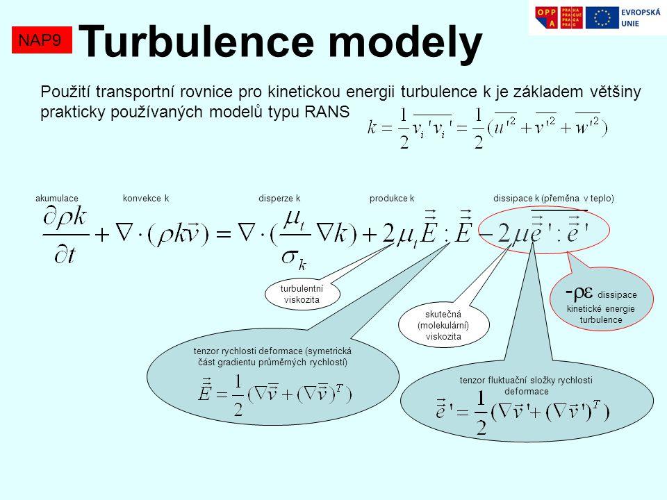 NAP9 Turbulence modely Použití transportní rovnice pro kinetickou energii turbulence k je základem většiny prakticky používaných modelů typu RANS -  dissipace kinetické energie turbulence tenzor rychlosti deformace (symetrická část gradientu průměrných rychlostí) akumulace konvekce k disperze k produkce k dissipace k (přeměna v teplo) tenzor fluktuační složky rychlosti deformace turbulentní viskozita skutečná (molekulární) viskozita