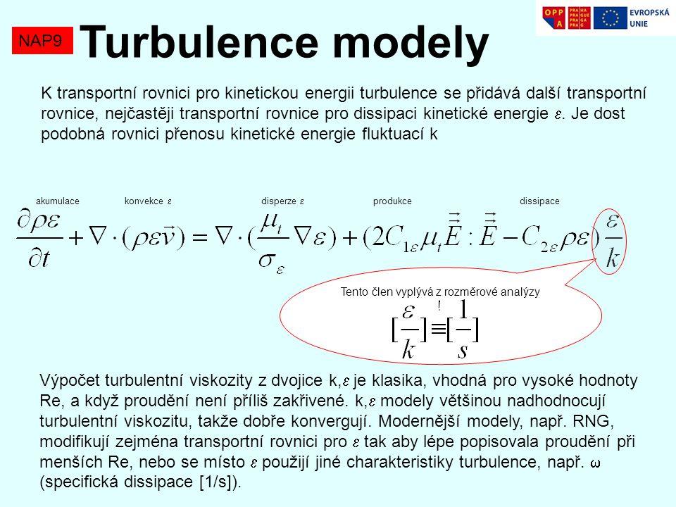 NAP9 Turbulence modely K transportní rovnici pro kinetickou energii turbulence se přidává další transportní rovnice, nejčastěji transportní rovnice pro dissipaci kinetické energie .