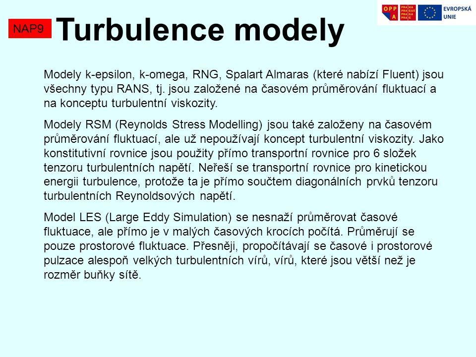NAP9 Turbulence modely Modely k-epsilon, k-omega, RNG, Spalart Almaras (které nabízí Fluent) jsou všechny typu RANS, tj.