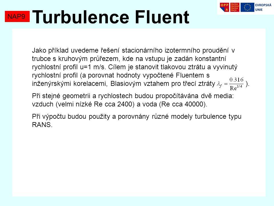 NAP9 Turbulence Fluent Jako příklad uvedeme řešení stacionárního izotermního proudění v trubce s kruhovým průřezem, kde na vstupu je zadán konstantní rychlostní profil u=1 m/s.